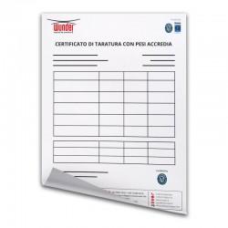 Certificato Taratura con Pesi Accredia
