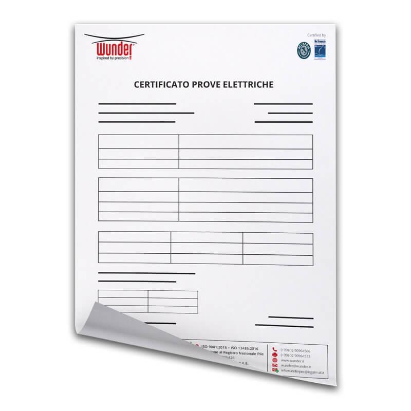 Certificato Prove Elettriche